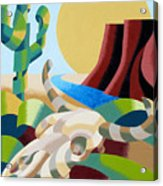 Abstract Futurist Soutwestern Desert Landscape Oil Painting  Acrylic Print by Mark Webster