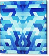 Abstract Geometric Triangle Pattern Futuristic Future Symmetry In Ice Blue Acrylic Print