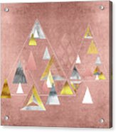 Abstract Geometric Triangles, Gold, Silver Rose Gold Acrylic Print