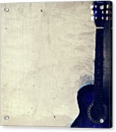 Abstract Guitar In The Foreground Close Up On Watercolor Painting Background. Acrylic Print