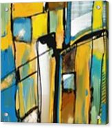 Abstract In Yellow And Blue Acrylic Print