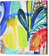 Abstract Jungle And Wild Flowers Acrylic Print