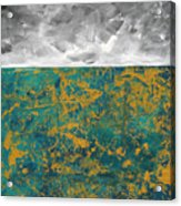 Abstract Original Painting Contemporary Metallic Gold And Teal With Gray Madart Acrylic Print