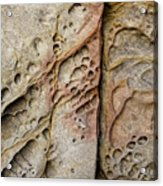 Abstract Rock Stained With Red And Gold Acrylic Print