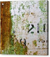 Rust Absract With Stenciled Numbers Acrylic Print