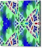 Abstract Seamless Pattern - Blue Green Turquoise Red White Acrylic Print