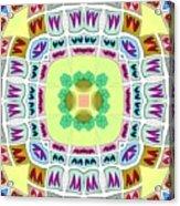 Abstract Seamless Pattern  - Yellow Green Blue Purple White Gray Acrylic Print