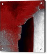 Abstract Square Red Black White Grey Textured Window Alcove 2a Acrylic Print