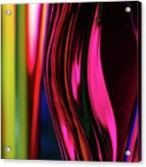 Abstract Verticle Shapes In Green And Red Acrylic Print