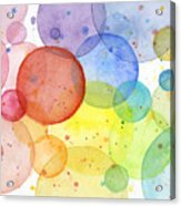 Abstract Watercolor Rainbow Circles Acrylic Print