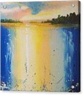 Abstract Waterfall At Sunset Acrylic Print