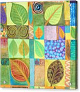 Abstract With Leaves Acrylic Print by Jennifer Baird