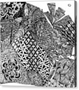 Abstract Zentangle Inspired Design In Black And White Acrylic Print