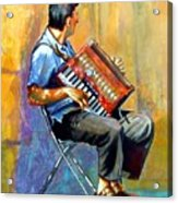Accordian Player Acrylic Print