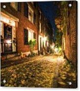 Acorn Street Autumn Boston Mass Painterly Acrylic Print