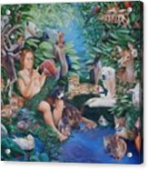 Adam Naming The Animals And The Appearance Of Eve Acrylic Print by Rosemarie Adcock