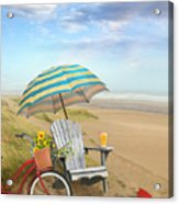 Adirondack Chair With Bicycle And Umbrella By The Seaside Acrylic Print