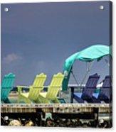 Adirondack Chairs At Coyaba Mahoe Bay Jamaica. Acrylic Print