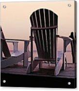 Adirondack Chairs Dockside At Lavender Haze Twilight Acrylic Print