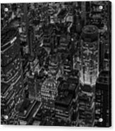Aerial New York City Skyscrapers Bw Acrylic Print