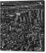 Aerial New York City Sunset Bw Bw Acrylic Print
