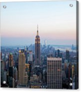 Aerial Night View Of Manhattan Skyline In New York Acrylic Print