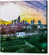 Aerial Of Charlotte North Carolina Skyline Acrylic Print