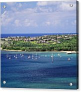 aerial of  Hanalei Bay and Princeville Resort Acrylic Print
