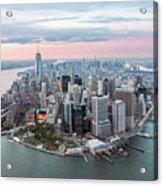 Aerial Of Lower Manhattan Peninsula At Sunset, New York, Usa Acrylic Print