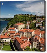 Aerial Of Piran Slovenia On Gulf Of Trieste Adriatic Sea With St Acrylic Print