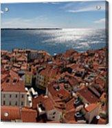 Aerial Panorama Of Piran Slovenia On Adriatic Sea With Marina An Acrylic Print