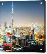 Aerial Panorama View Of Dubai By Night Acrylic Print