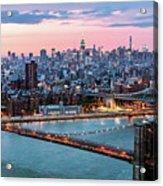 Aerial Panoramic Of Midtown Manhattan At Dusk, New York City, Us Acrylic Print