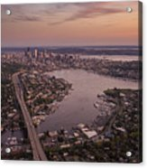 Aerial Seattle View Along Interstate 5 Acrylic Print