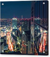 Aerial View Cityscape At Night In Tokyo Japan From A Skyscraper Acrylic Print