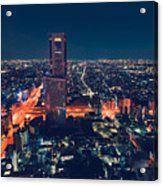 Aerial View Cityscape At Night In Tokyo Japan Acrylic Print