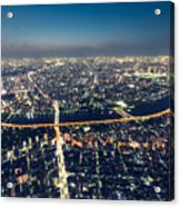 Aerial View Cityscape At Night Acrylic Print