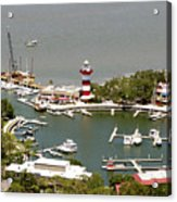 Aerial View Harbour Town Lighthouse In Hilton Head Island Acrylic Print