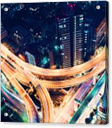 Aerial-view Highway Junction At Night In Tokyo Japan Acrylic Print