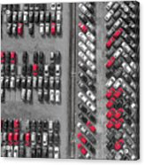 Aerial View Lot Of Vehicles On Parking For New Car.  Acrylic Print