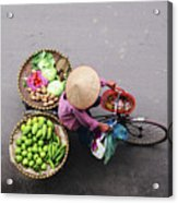 Aerial View Of A Vietnamese Traditional Seller On The Bicycle With Bags Full Of Vegetables Acrylic Print