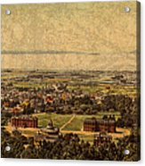Aerial View Of Berkeley California In 1900 On Worn Distressed Canvas Acrylic Print