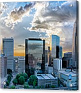Aerial View Of Charlotte City Skyline At Sunset Acrylic Print