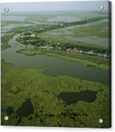 Aerial View Of Delacroix Island Acrylic Print by Medford Taylor