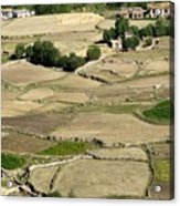 Aerial View Of Green Ladakh Agricultural  Landscape Acrylic Print