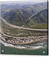 Aerial View Of Highway 1 As It Meets Acrylic Print