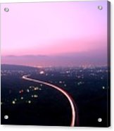 Aerial View Of Highway At Dusk Acrylic Print