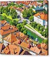 Aerial View Of Ljubljana Green River Acrylic Print