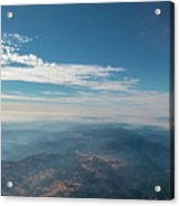 Aerial View Of Mountain Formation With Low Clouds During Daytime Acrylic Print