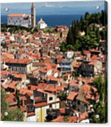 Aerial View Of Piran Slovenia With St George's Cathedral On The  Acrylic Print